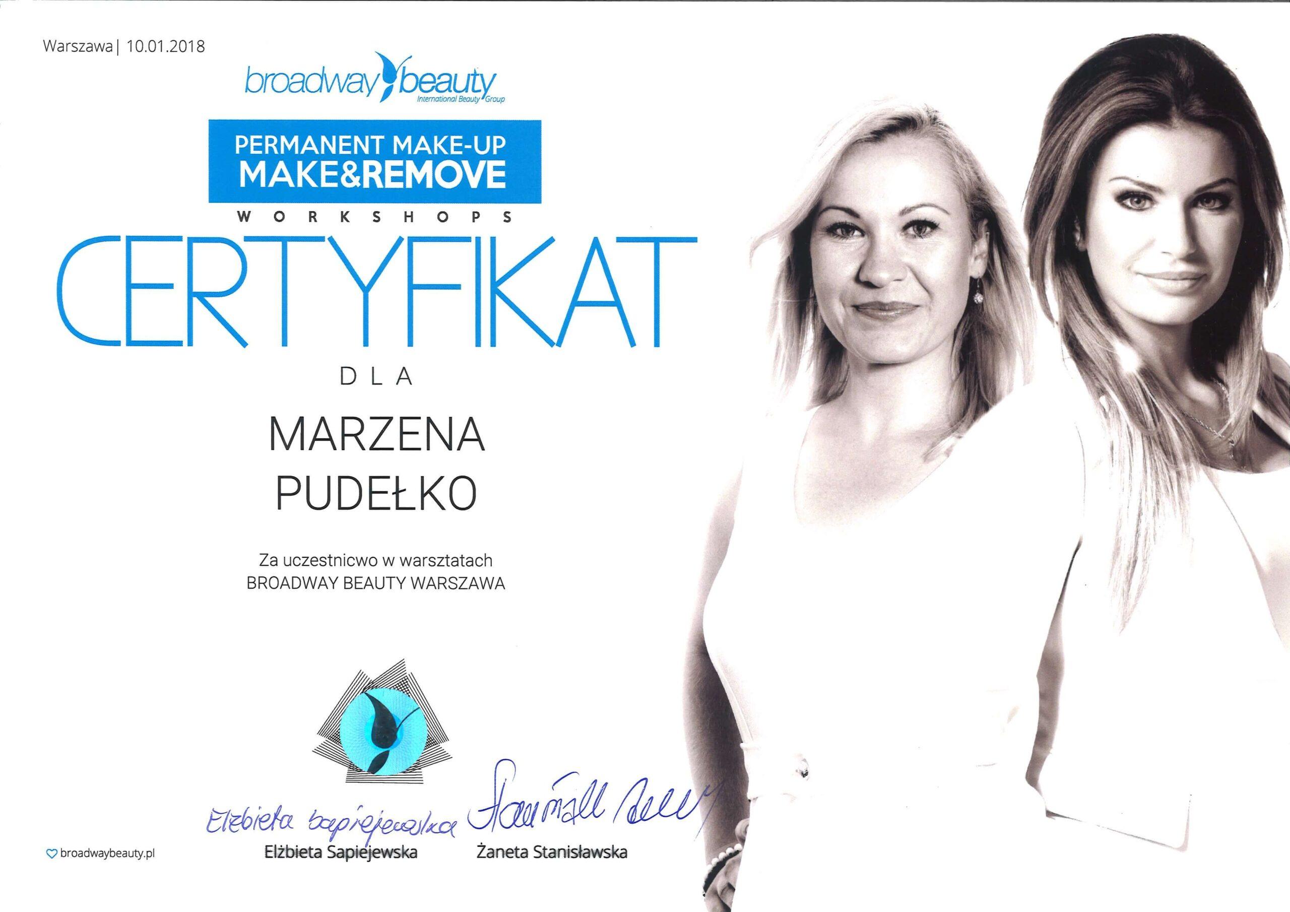 Certyfikat dla Marzena Teodorczyk
